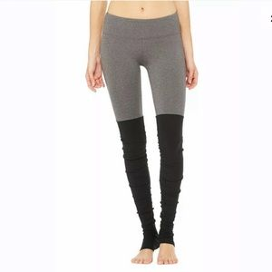 ALO YOGA Goddess Leggings Heather Gray Black Small